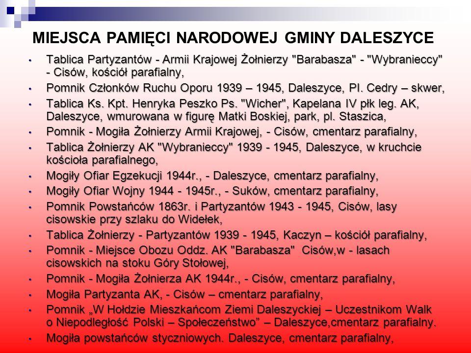 MIEJSCA PAMIĘCI NARODOWEJ GMINY DALESZYCE Tablica Partyzantów - Armii Krajowej Żołnierzy