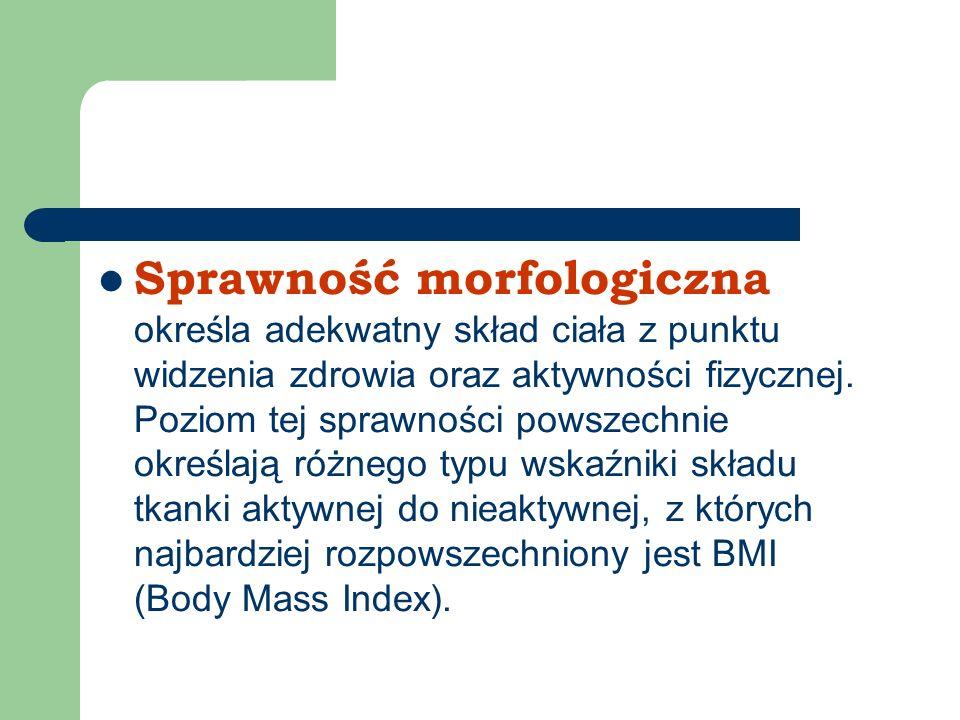 Sprawność morfologiczna określa adekwatny skład ciała z punktu widzenia zdrowia oraz aktywności fizycznej. Poziom tej sprawności powszechnie określają