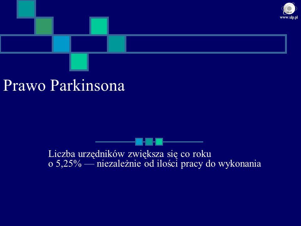 Prawo Parkinsona Liczba urzędników zwiększa się co roku o 5,25% niezależnie od ilości pracy do wykonania www.ulp.pl