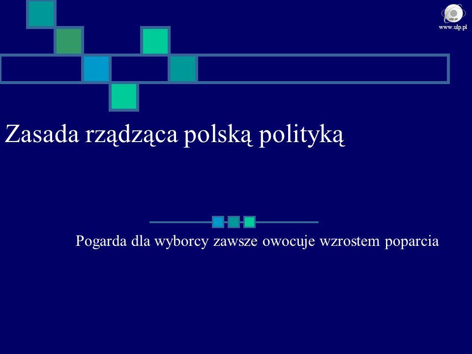 Zasada rządząca polską polityką Pogarda dla wyborcy zawsze owocuje wzrostem poparcia www.ulp.pl