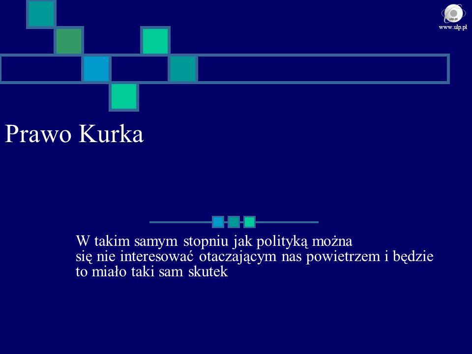 Prawo Kurka W takim samym stopniu jak polityką można się nie interesować otaczającym nas powietrzem i będzie to miało taki sam skutek www.ulp.pl