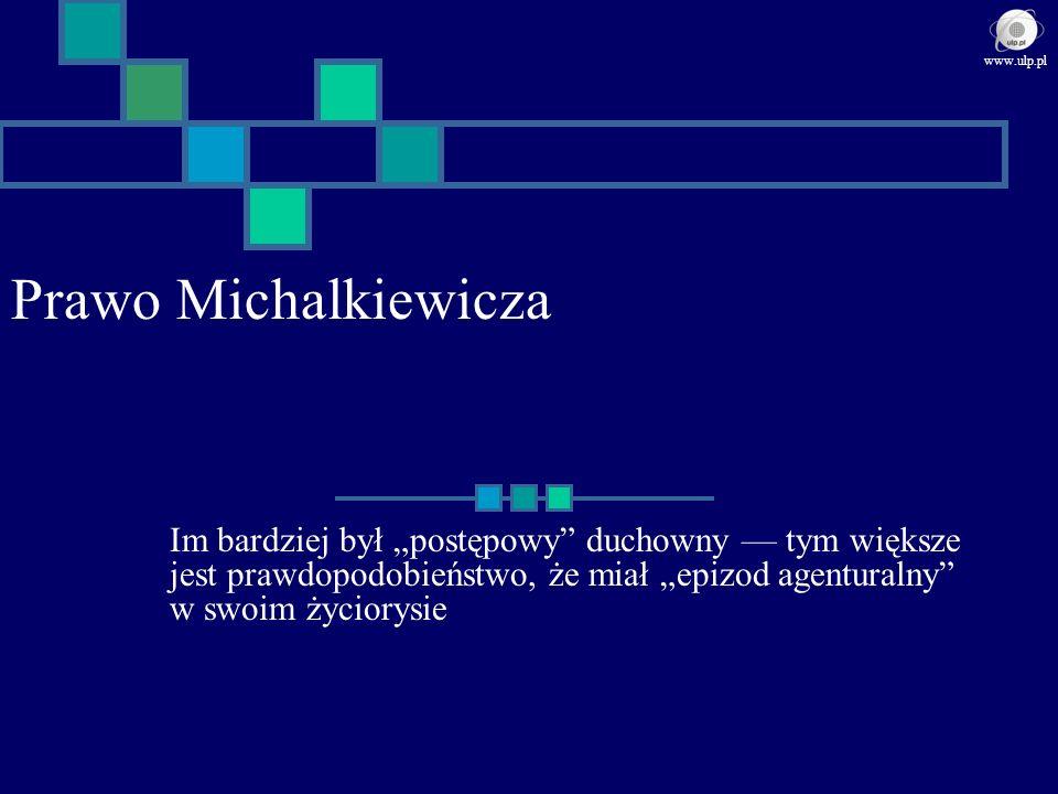 Prawo Michalkiewicza Im bardziej był postępowy duchowny tym większe jest prawdopodobieństwo, że miał epizod agenturalny w swoim życiorysie www.ulp.pl