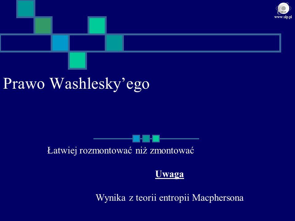 Prawo Washleskyego Łatwiej rozmontować niż zmontować Uwaga Wynika z teorii entropii Macphersona www.ulp.pl