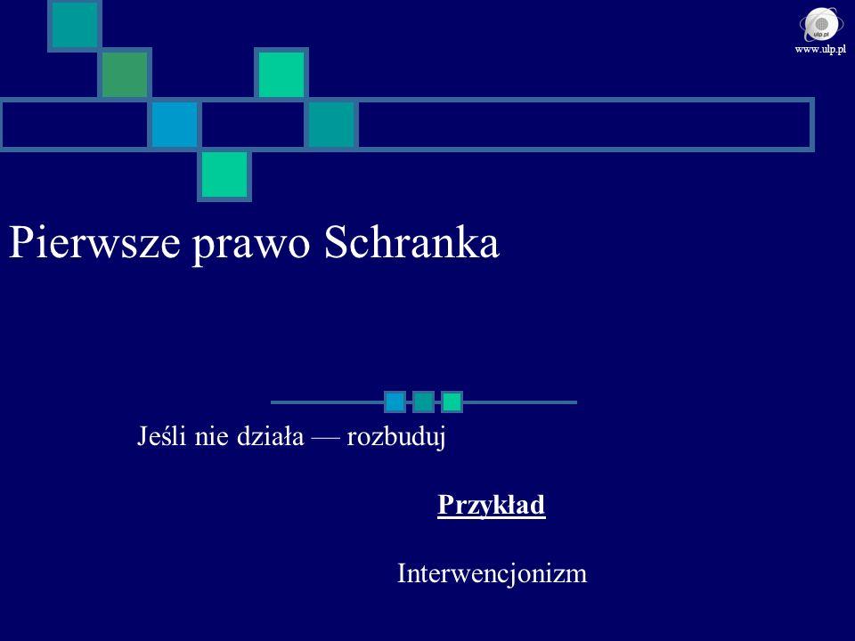 Pierwsze prawo Schranka Jeśli nie działa rozbuduj Przykład Interwencjonizm www.ulp.pl