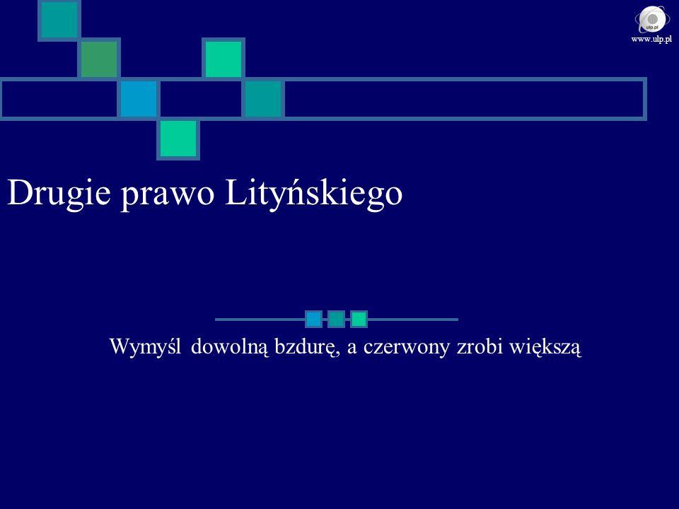 Reguły sukcesu w ujęciu Elyego Stwórz potrzebę, a potem ją zaspokajaj Prawo Rossy Wynalazca stwarza potrzebę zaspokojeniem jej www.ulp.pl