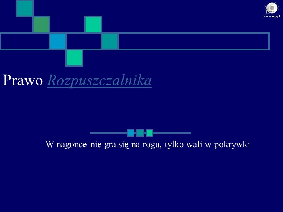 Reguła sukcesu w ujęciu Braleka Ufaj wyłącznie tym, którzy mogą stracić tyle samo, co ty Komentarz Bralek nie bierze pod uwagę: 1.Durniów, którzy nie wiedzą, że stracą 2.Durniów, którzy wolą sami stracić nawet więcej, byle przysporzyć stratę innemu www.ulp.pl