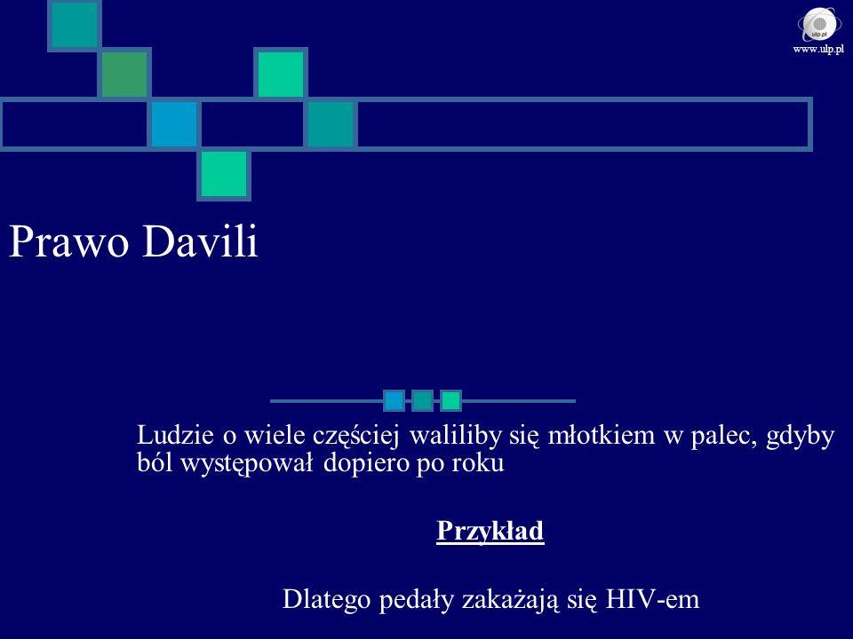 Prawo Davili Ludzie o wiele częściej waliliby się młotkiem w palec, gdyby ból występował dopiero po roku Przykład Dlatego pedały zakażają się HIV-em w