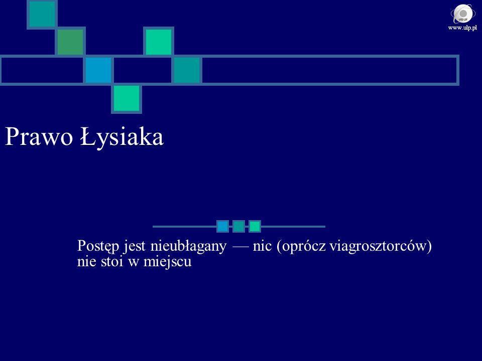 Prawo Łysiaka Postęp jest nieubłagany nic (oprócz viagrosztorców) nie stoi w miejscu www.ulp.pl