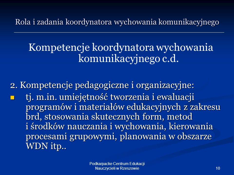 10 Podkarpacke Centrum Edukacji Nauczycieli w Rzeszowie Kompetencje koordynatora wychowania komunikacyjnego c.d. 2. Kompetencje pedagogiczne i organiz
