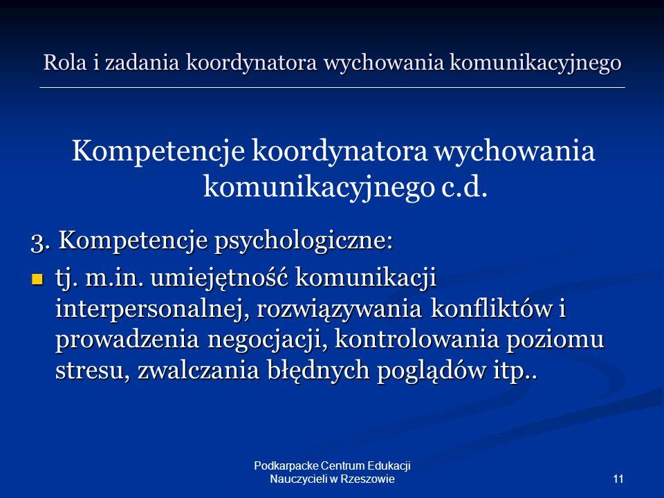 11 Podkarpacke Centrum Edukacji Nauczycieli w Rzeszowie Kompetencje koordynatora wychowania komunikacyjnego c.d. 3. Kompetencje psychologiczne: tj. m.