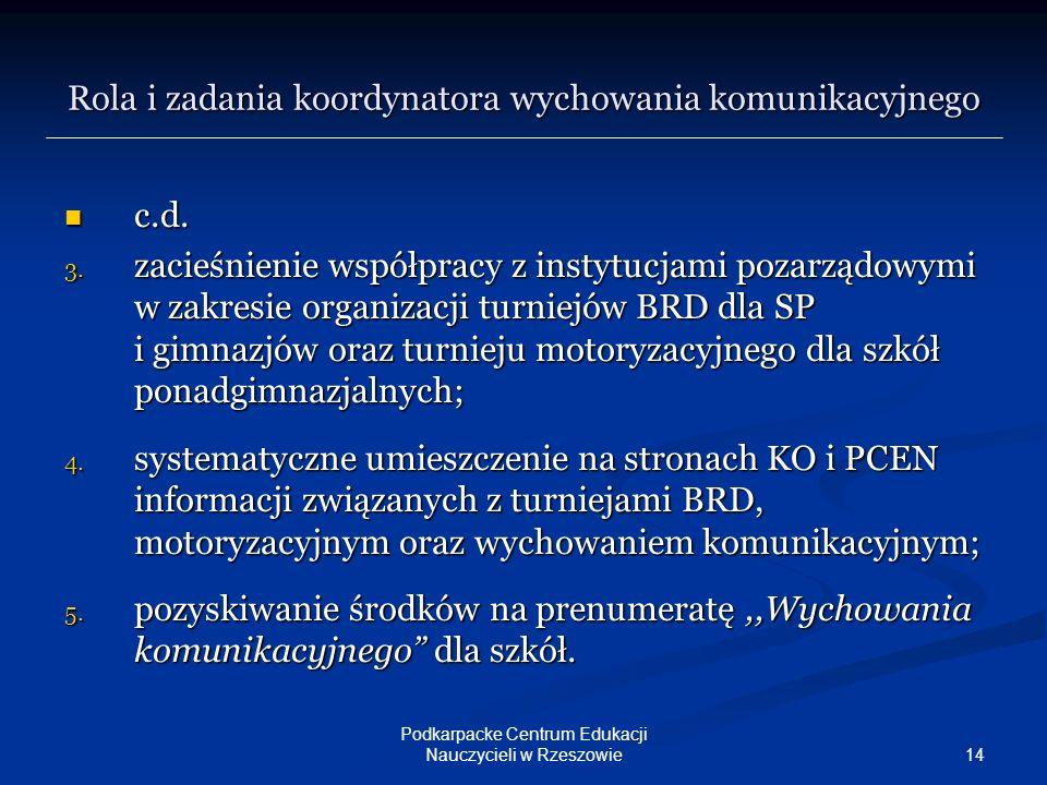 14 Podkarpacke Centrum Edukacji Nauczycieli w Rzeszowie c.d. c.d. 3. zacieśnienie współpracy z instytucjami pozarządowymi w zakresie organizacji turni