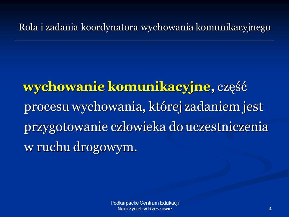 15 Podkarpacke Centrum Edukacji Nauczycieli w Rzeszowie Rola i zadania koordynatora wychowania komunikacyjnego Bibliografia: 1.