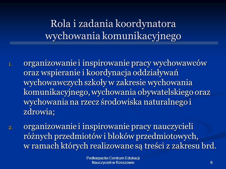 7 Podkarpacke Centrum Edukacji Nauczycieli w Rzeszowie Rola i zadania koordynatora wychowania komunikacyjnego 3.