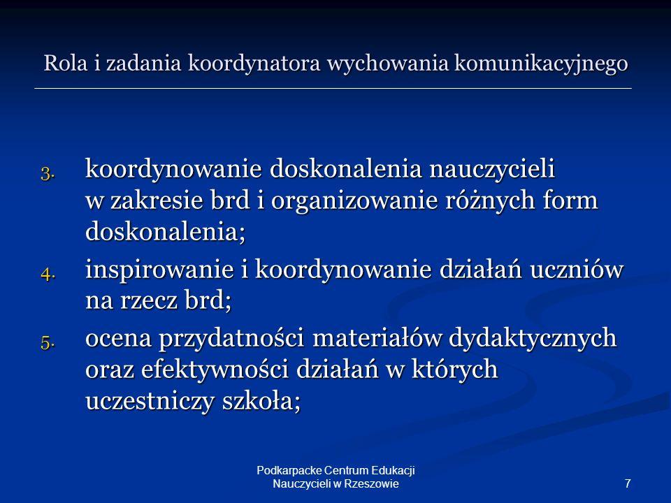 8 Podkarpacke Centrum Edukacji Nauczycieli w Rzeszowie Rola i zadania koordynatora wychowania komunikacyjnego 6.