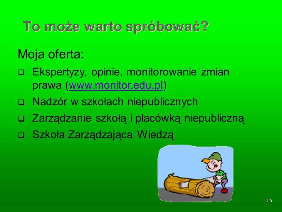 15 To może warto spróbować? Moja oferta: Ekspertyzy, opinie, monitorowanie zmian prawa (www.monitor.edu.pl)www.monitor.edu.pl Nadzór w szkołach niepub