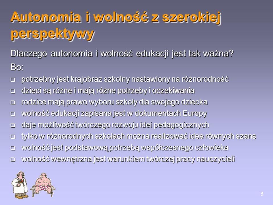 5 Dlaczego autonomia i wolność edukacji jest tak ważna? Bo: potrzebny jest krajobraz szkolny nastawiony na różnorodność potrzebny jest krajobraz szkol