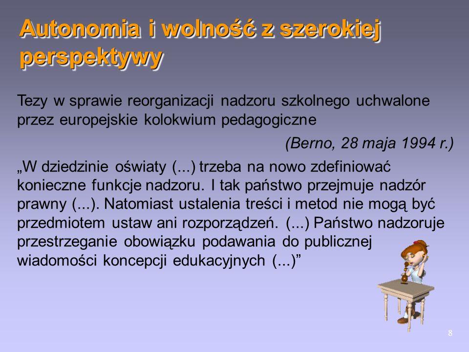 8 Tezy w sprawie reorganizacji nadzoru szkolnego uchwalone przez europejskie kolokwium pedagogiczne (Berno, 28 maja 1994 r.) W dziedzinie oświaty (...