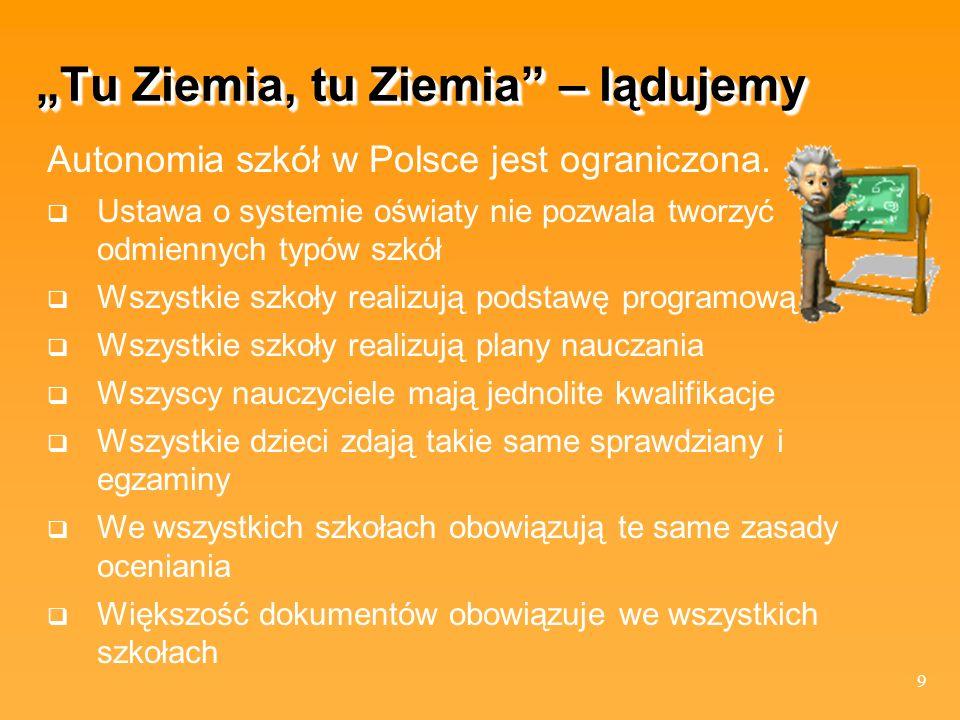 9 Tu Ziemia, tu Ziemia – lądujemy Autonomia szkół w Polsce jest ograniczona. Ustawa o systemie oświaty nie pozwala tworzyć odmiennych typów szkół Wszy