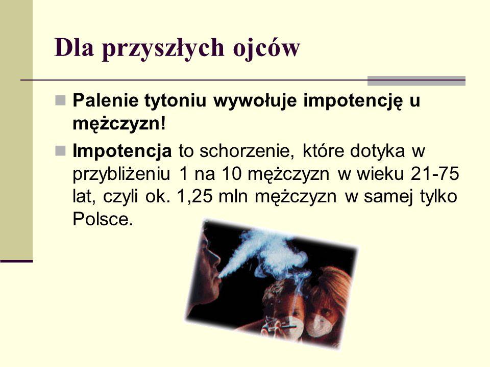 Dla przyszłych ojców Palenie tytoniu wywołuje impotencję u mężczyzn! Impotencja to schorzenie, które dotyka w przybliżeniu 1 na 10 mężczyzn w wieku 21