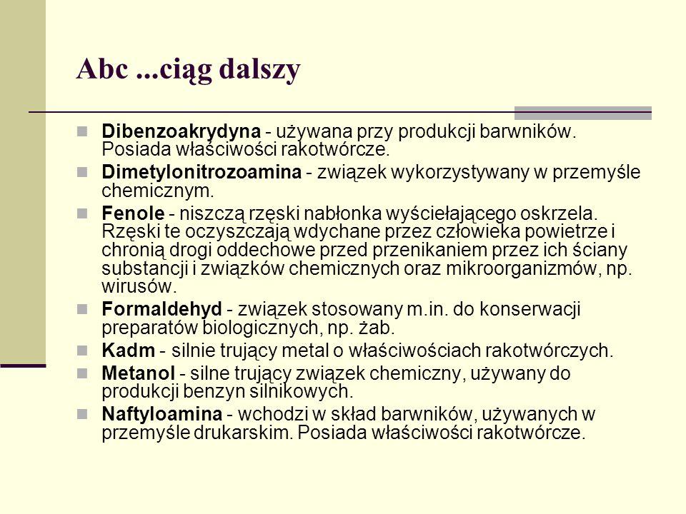 Abc...ciąg dalszy Dibenzoakrydyna - używana przy produkcji barwników. Posiada właściwości rakotwórcze. Dimetylonitrozoamina - związek wykorzystywany w