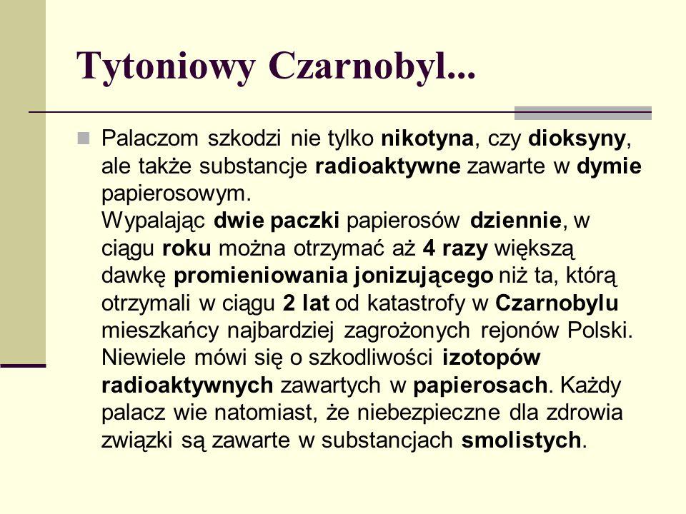 Tytoniowy Czarnobyl... Palaczom szkodzi nie tylko nikotyna, czy dioksyny, ale także substancje radioaktywne zawarte w dymie papierosowym. Wypalając dw
