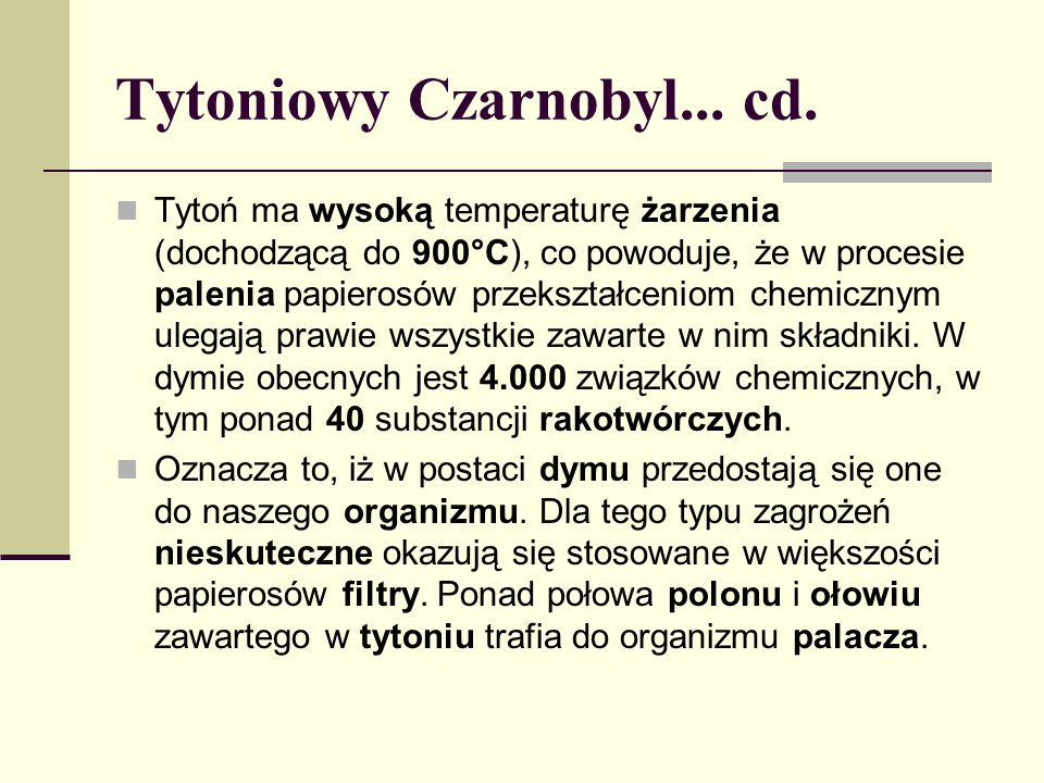 Tytoniowy Czarnobyl... cd. Tytoń ma wysoką temperaturę żarzenia (dochodzącą do 900°C), co powoduje, że w procesie palenia papierosów przekształceniom