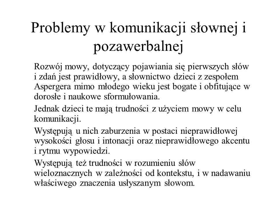 Problemy w komunikacji słownej i pozawerbalnej Rozwój mowy, dotyczący pojawiania się pierwszych słów i zdań jest prawidłowy, a słownictwo dzieci z zes