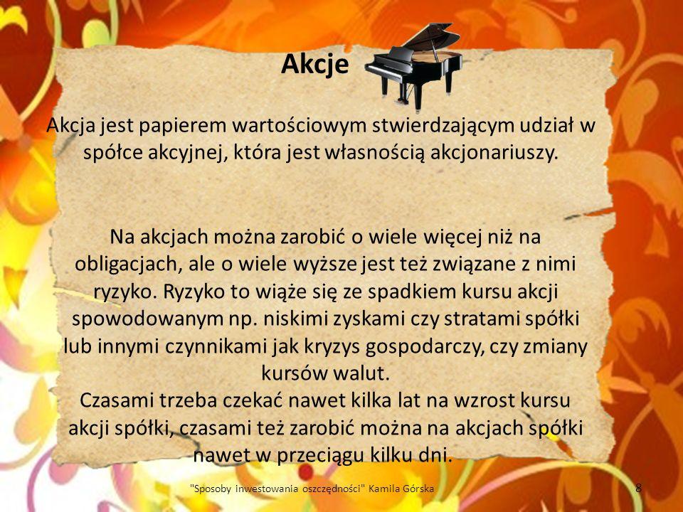 Nieruchomości 19 Sposoby inwestowania oszczędności Kamila Górska Kupno mieszkania czy budowa domu jest jedną z najbezpieczniejszych form lokowania pieniędzy.