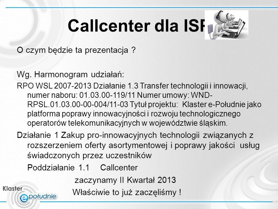 Callcenter dla ISP Nic nie jest szczególnie trudne do zrobienia, jeśli tylko rozłożyć to na etapy Henry Ford Wg Pana MS projecta: 1.Część Hardwarowa[01-03.2013] 2.Instalacja i uruchomienie oprogramowania[01-03.2013] 3.CCv1 [04-06.2013] 4.CCv2 [09-12.2013] (miało być [07-09.2013] ) 5.CCv3[01-03.2014] (miało być [10-12.2013] ) 6.Podsumowanie etapów i określenie kierunków dalszego rozwoju