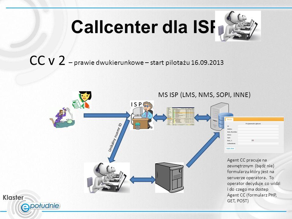 Callcenter dla ISP CC v 2 – prawie dwukierunkowe – start pilotażu 16.09.2013 Agent CC pracuje na zewnętrznym (bądź nie) formularzu który jest na serwerze operatora.