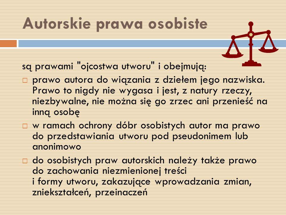 Autorskie prawa osobiste są prawami