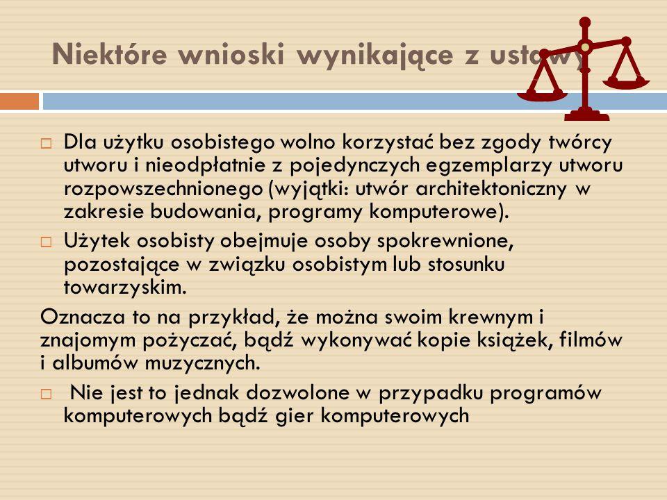 Niektóre wnioski wynikające z ustawy Dla użytku osobistego wolno korzystać bez zgody twórcy utworu i nieodpłatnie z pojedynczych egzemplarzy utworu ro