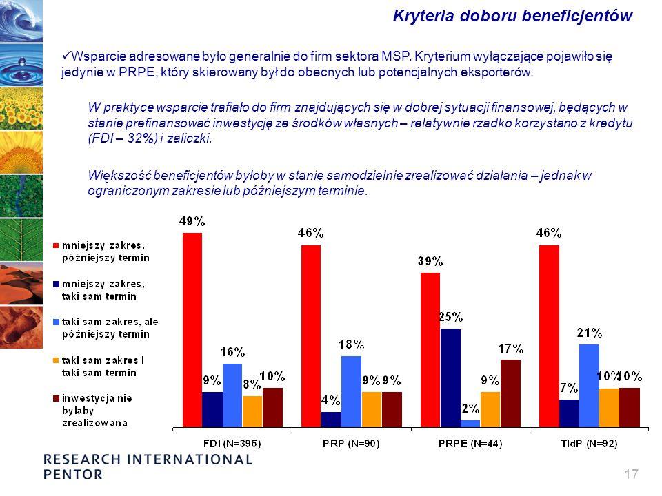 17 Kryteria doboru beneficjentów Wsparcie adresowane było generalnie do firm sektora MSP. Kryterium wyłączające pojawiło się jedynie w PRPE, który ski