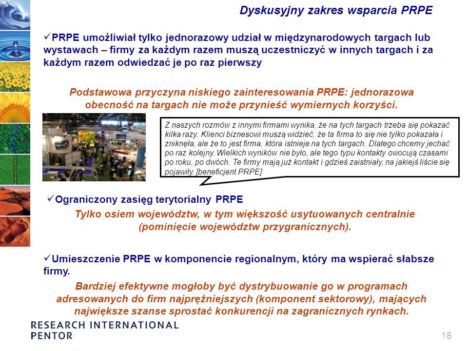18 Dyskusyjny zakres wsparcia PRPE PRPE umożliwiał tylko jednorazowy udział w międzynarodowych targach lub wystawach – firmy za każdym razem muszą ucz