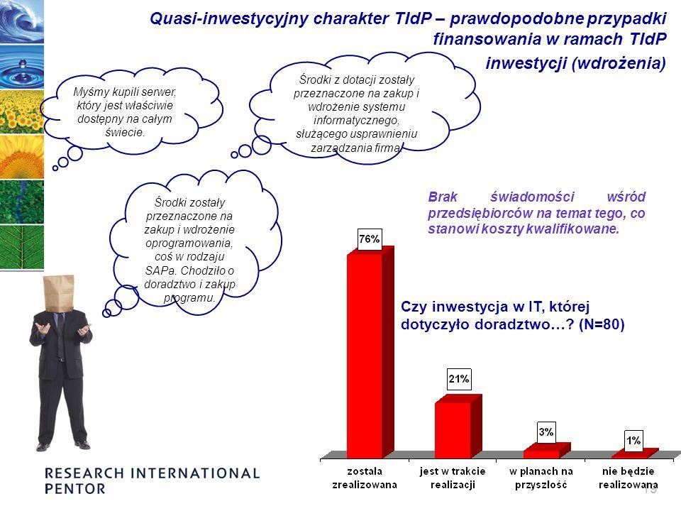19 Quasi-inwestycyjny charakter TIdP – prawdopodobne przypadki finansowania w ramach TIdP inwestycji (wdrożenia) Myśmy kupili serwer, który jest właściwie dostępny na całym świecie.