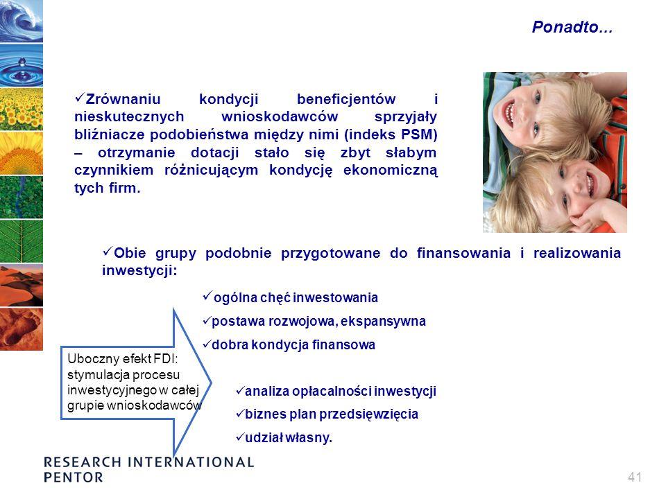 41 Ponadto... Zrównaniu kondycji beneficjentów i nieskutecznych wnioskodawców sprzyjały bliźniacze podobieństwa między nimi (indeks PSM) – otrzymanie
