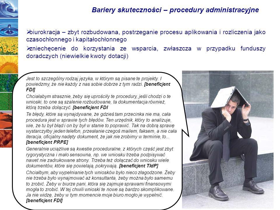 53 biurokracja – zbyt rozbudowana, postrzeganie procesu aplikowania i rozliczenia jako czasochłonnego i kapitałochłonnego zniechęcenie do korzystania