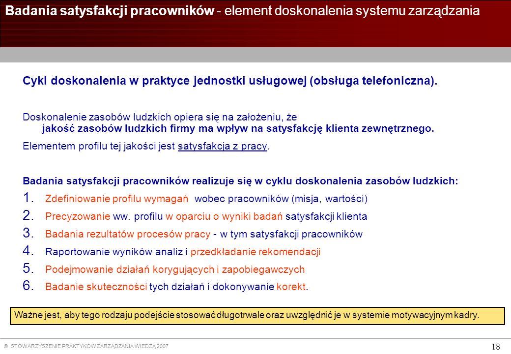 © STOWARZYSZENIE PRAKTYKÓW ZARZĄDZANIA WIEDZĄ 2007 18 Badania satysfakcji pracowników - element doskonalenia systemu zarządzania Cykl doskonalenia w p