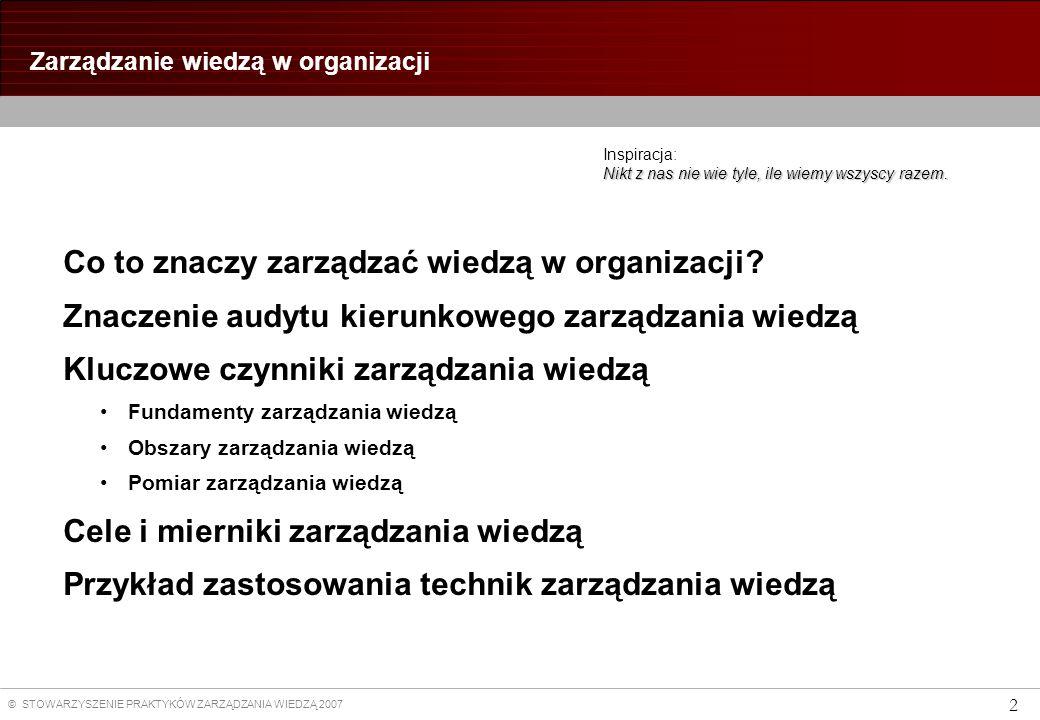 © STOWARZYSZENIE PRAKTYKÓW ZARZĄDZANIA WIEDZĄ 2007 2 Zarządzanie wiedzą w organizacji Nikt z nas nie wie tyle, ile wiemy wszyscy razem.