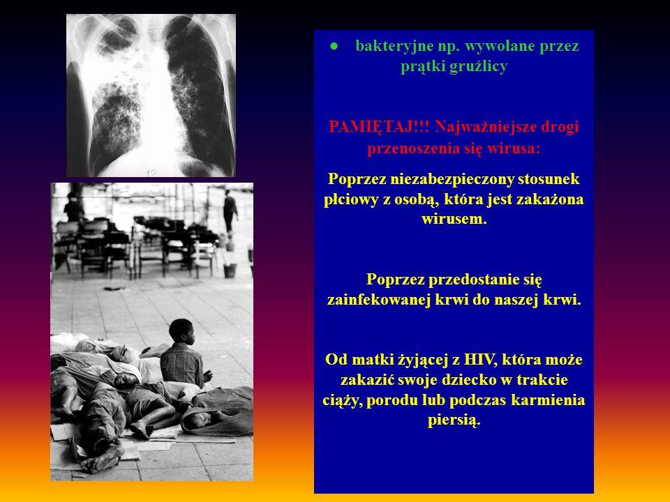 bakteryjne np. wywołane przez prątki gruźlicy PAMIĘTAJ!!! Najważniejsze drogi przenoszenia się wirusa: Poprzez niezabezpieczony stosunek płciowy z oso