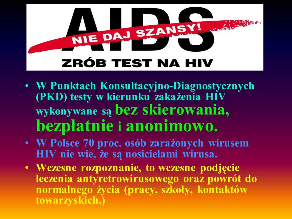 W Punktach Konsultacyjno-Diagnostycznych (PKD) testy w kierunku zakażenia HIV wykonywane są bez skierowania, bezpłatnie i anonimowo. W Polsce 70 proc.