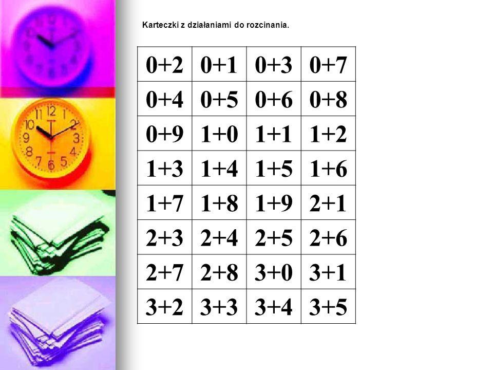 Karteczki z działaniami do rozcinania. 0+20+10+30+7 0+40+50+60+8 0+91+01+11+2 1+31+41+51+6 1+71+81+92+1 2+32+42+52+6 2+72+83+03+1 3+23+33+43+5