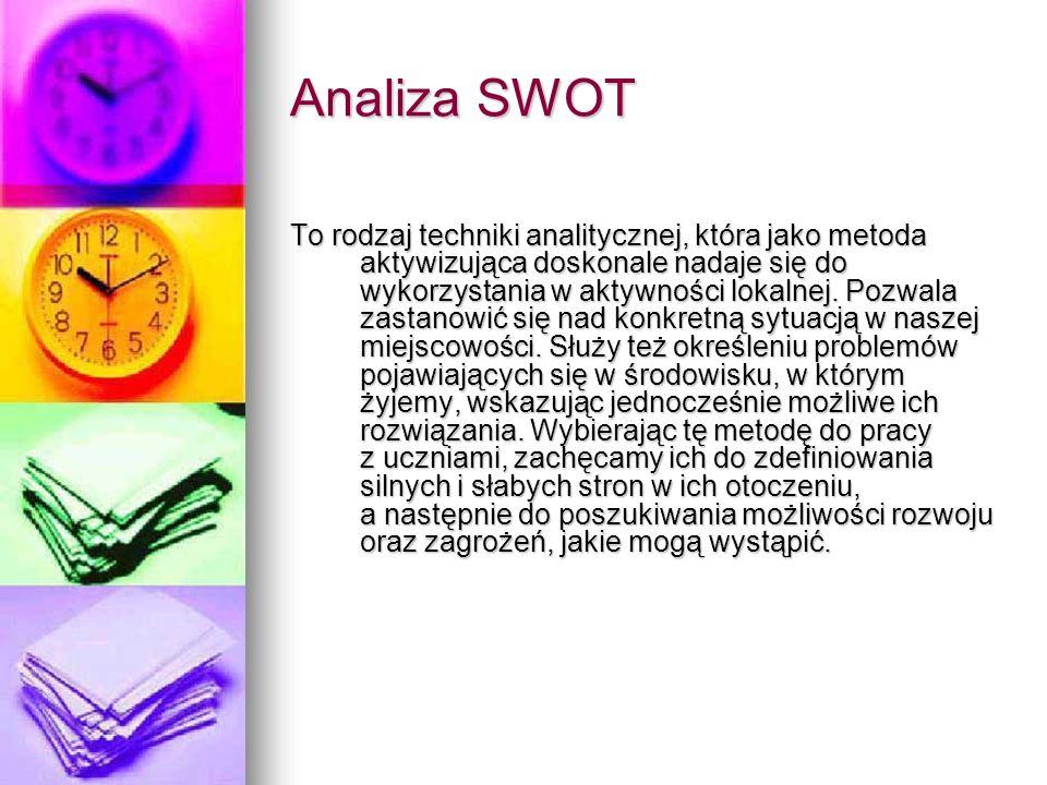 Analiza SWOT To rodzaj techniki analitycznej, która jako metoda aktywizująca doskonale nadaje się do wykorzystania w aktywności lokalnej. Pozwala zast