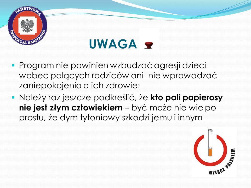 UWAGA Program nie powinien wzbudzać agresji dzieci wobec palących rodziców ani nie wprowadzać zaniepokojenia o ich zdrowie: Należy raz jeszcze podkreś