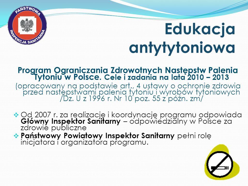 Edukacja antytytoniowa Program Ograniczania Zdrowotnych Następstw Palenia Tytoniu w Polsce. Cele i zadania na lata 2010 – 2013 (opracowany na podstawi