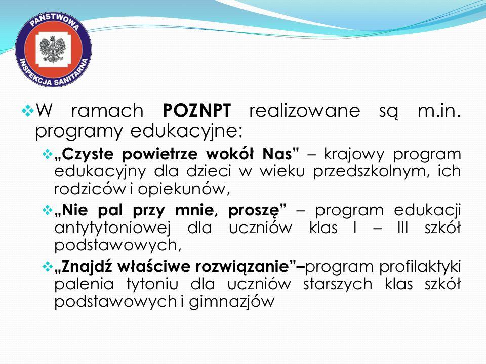 W ramach POZNPT realizowane są m.in. programy edukacyjne: Czyste powietrze wokół Nas – krajowy program edukacyjny dla dzieci w wieku przedszkolnym, ic