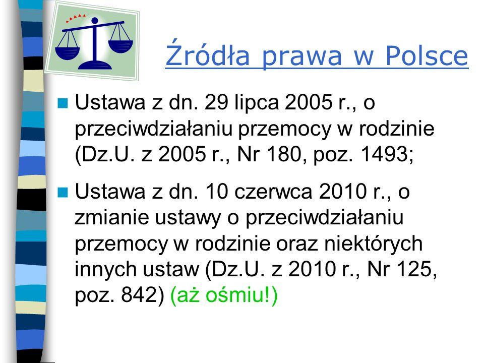 Źródła prawa w Polsce Ustawa z dn.29 lipca 2005 r., o przeciwdziałaniu przemocy w rodzinie (Dz.U.