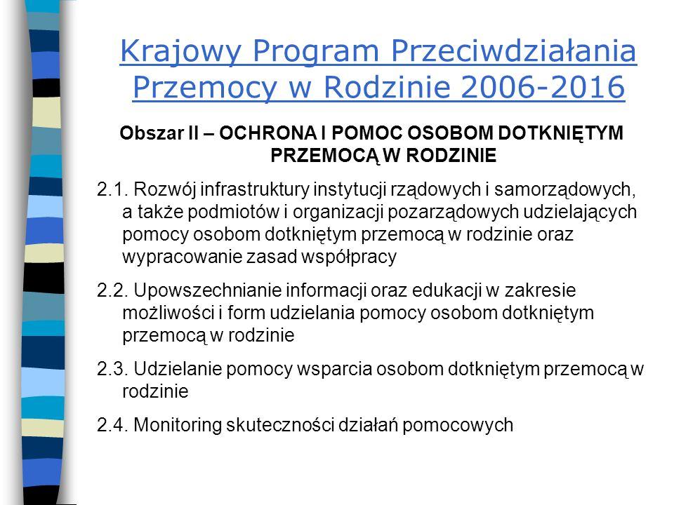 Krajowy Program Przeciwdziałania Przemocy w Rodzinie 2006-2016 Obszar II – OCHRONA I POMOC OSOBOM DOTKNIĘTYM PRZEMOCĄ W RODZINIE 2.1.