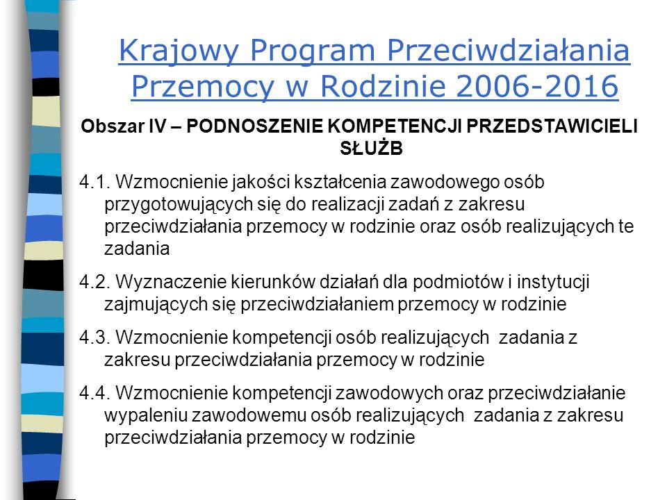 Krajowy Program Przeciwdziałania Przemocy w Rodzinie 2006-2016 Obszar IV – PODNOSZENIE KOMPETENCJI PRZEDSTAWICIELI SŁUŻB 4.1.