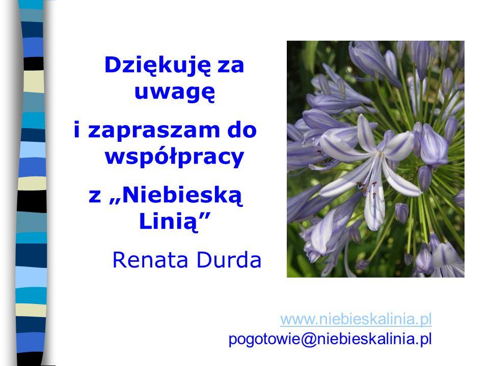 Dziękuję za uwagę i zapraszam do współpracy z Niebieską Linią Renata Durda www.niebieskalinia.pl pogotowie@niebieskalinia.pl